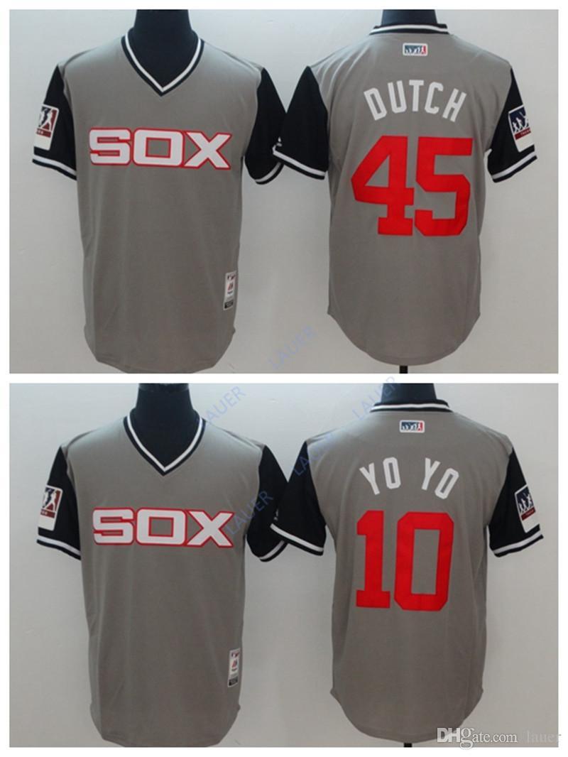 ae312230fbd 2019 Chicago White Men Sox Jersey 45 Dutch 10 YO YO Stitched Nickname  Baseball Jerseys From Lauer