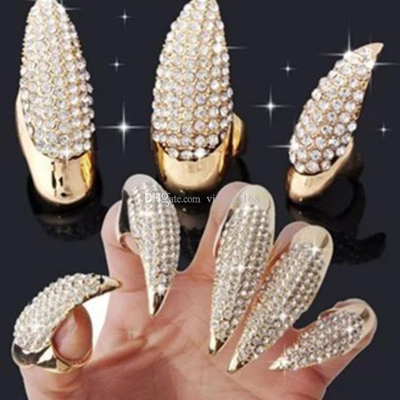 Eagle claw rings DIY Jewelry Punk Style Crystal Rhinestone Paved Paw Bend Fingertip Finger Claw Ring Set Fake False Nails Set