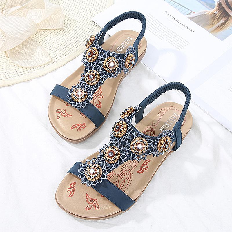 59677cad651 Compre Sandalias De Mujer Zapatos De Mujer De Verano 2019 Chanclas De Moda  Sandalias Planas Con Flores Bohemian Beach Ladies Shoes A $29.59 Del  Gor2doe ...