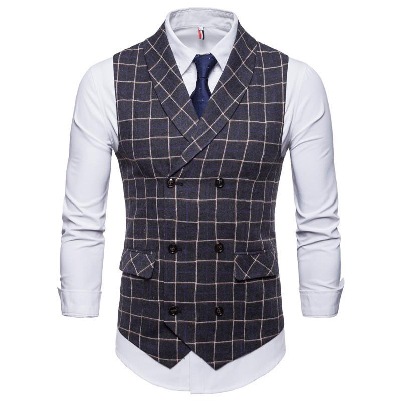 New 2019 Mens Plaid Suit Vest 3xl 4xl Fashion Party Dress Vest Uomo Inghilterra Business Casual Casual Grigio Gilet per uomo