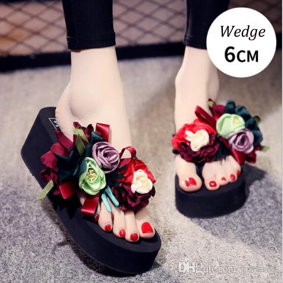 2a9295e79 2019 Summer New Handmade Rose High Heel Slippers Flip Flops Luxury Flower  Platform Cute Ladies Beach Sandals Women S Shoes Mens Boots Winter Boots  From ...