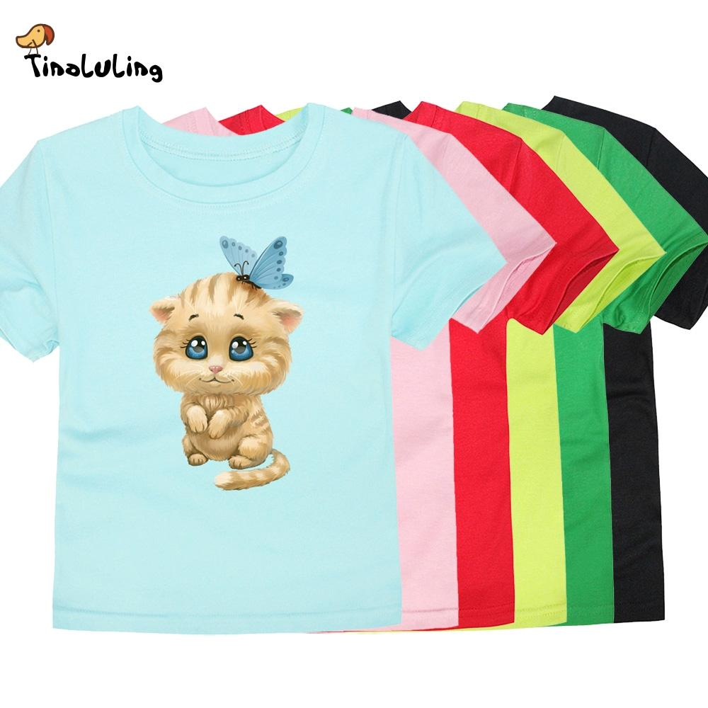 wholesale 2018 T-shirts for Girls Boys Kids Cute Cat T Shirts Baby Short Sleeve Tees Children Cotton Fashion Tops For 2-14