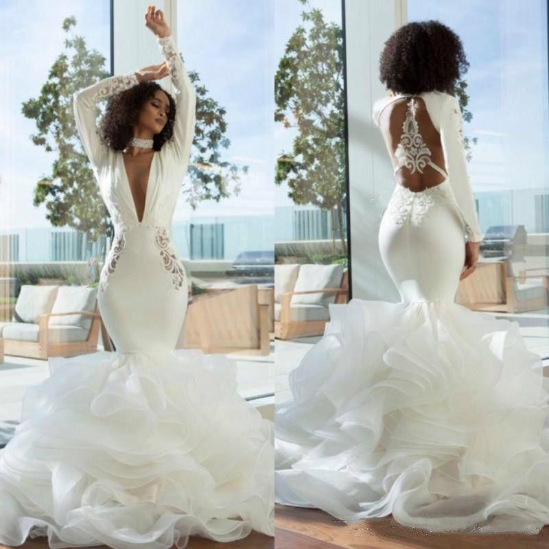 1f862c9c1 Sexy Open Back Mermaid Wedding Dresses Turkey 2019 Tiers Skirt Ruffles Deep  V Neck Long Sleeves Bridal Gowns African Bride Dress Plus Size Italian  Wedding ...