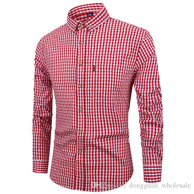 Casual Shirts Red Black Plaid Checked Shirt Men 2019 Spring New Slim Fit Long Sleeve Shirt Mens Causal Button Down Dress Shirts Chemise Homme Shirts