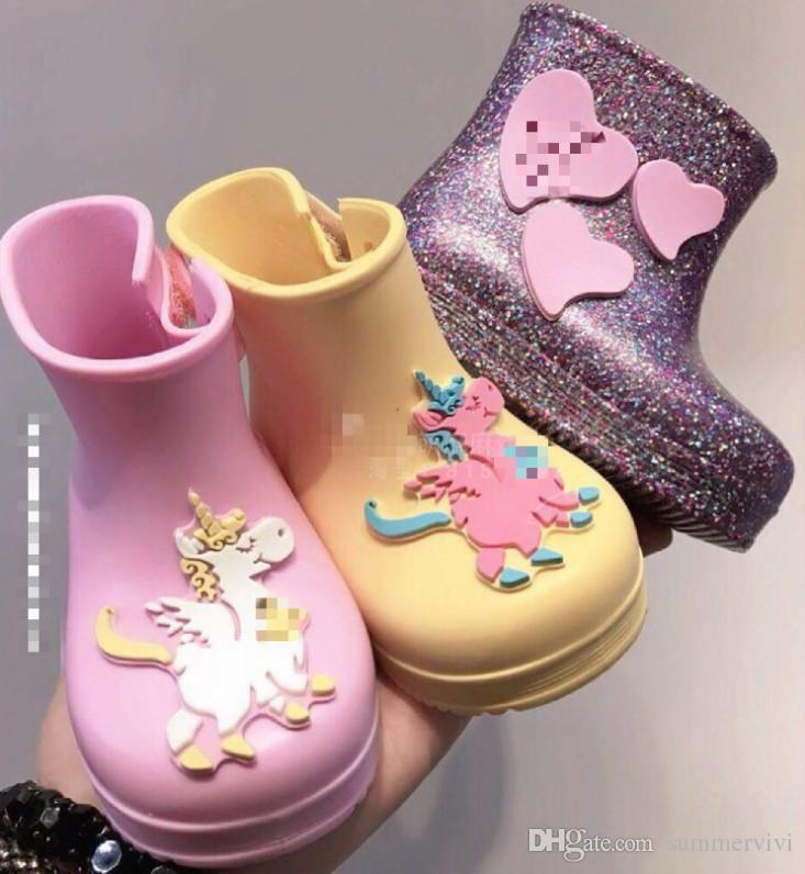 3192aae970 Melissa sequins jelly shoes Baby kids unicorn Rain boots girls love heart  applique princess short boots children non-slip water boots F4313