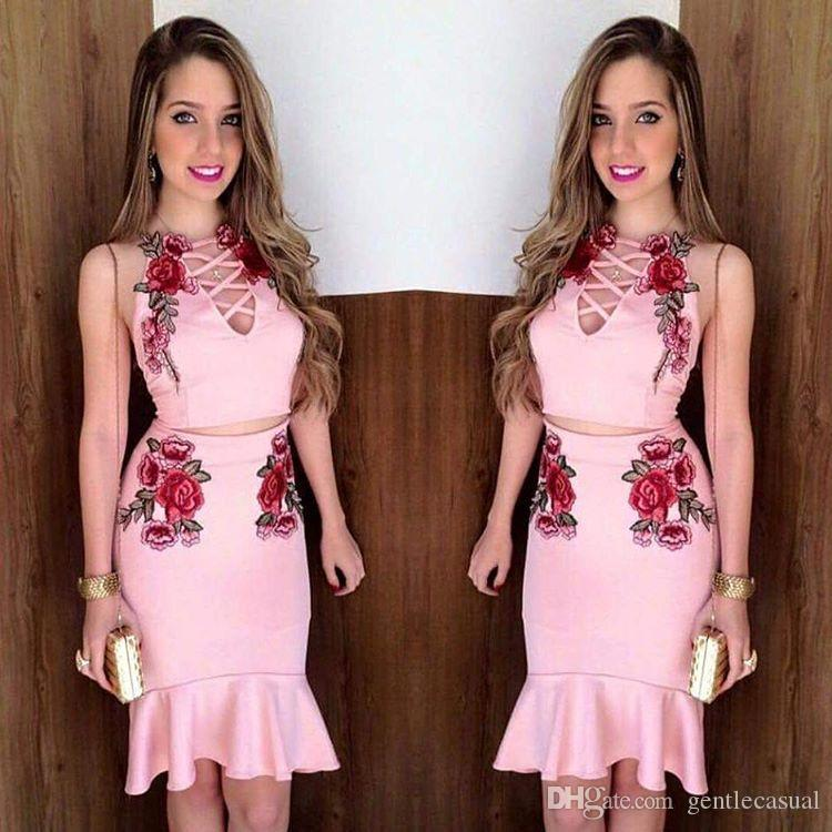 bc725a691b9 2019 Summer Women Bodycon Two Piece Sets Sleeveless Crop Top And Short Skirt  Set Bandage Dress Clubwear Floral Print Dresses Sets From Gentlecasual, ...