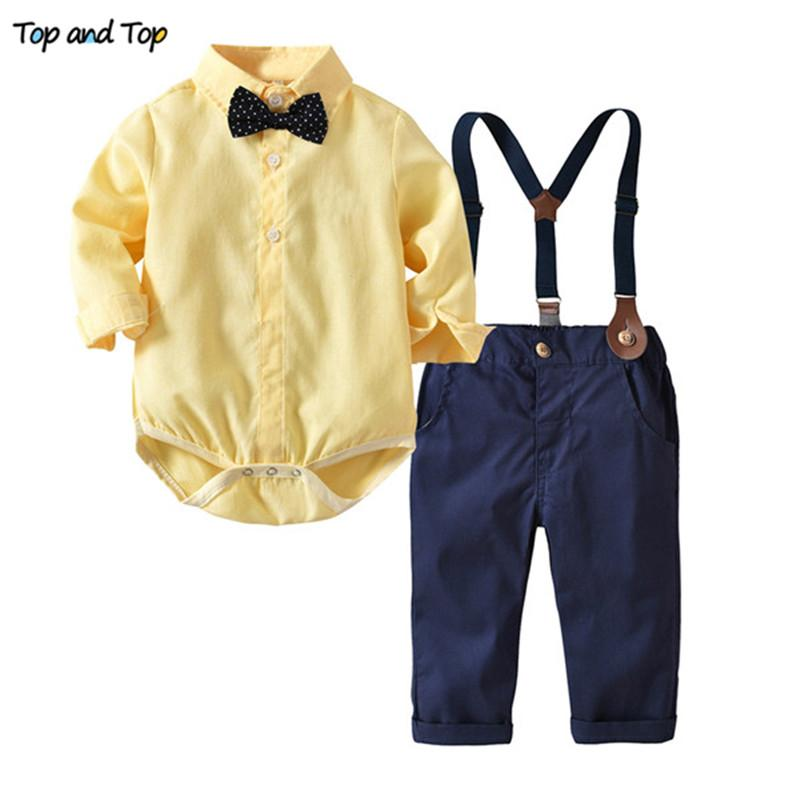 c315728af2 Compre Top E Top Baby Boy Roupas De Manga Longa Conjuntos De Bebê Recém  Nascidos Roupas Infantis Gentleman Set Romper Camisa + Bow Tie + Suspender  Calças De ...