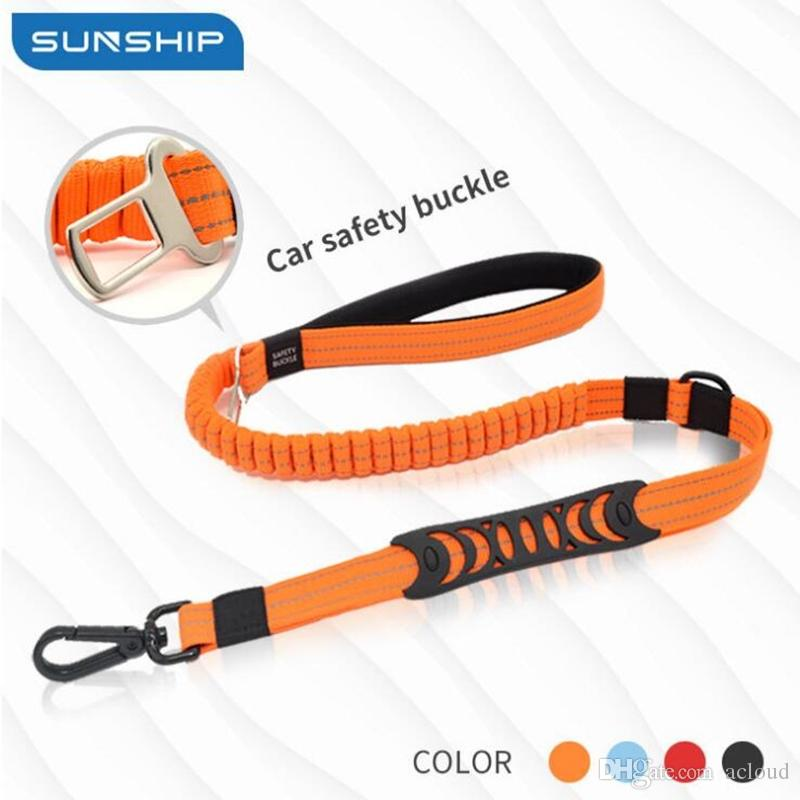 Pet car safety rope dog car seat belt car pet traction rope buffer retractable reflective traction belt