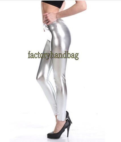 9efefc8165421 2019 Women Metallic Shiny Leggings Faux Leather Mid Waist Ankle Length Pants  Sexy Bright Sequin Pants Shining Fitness Legging From Factoryhandbag, ...
