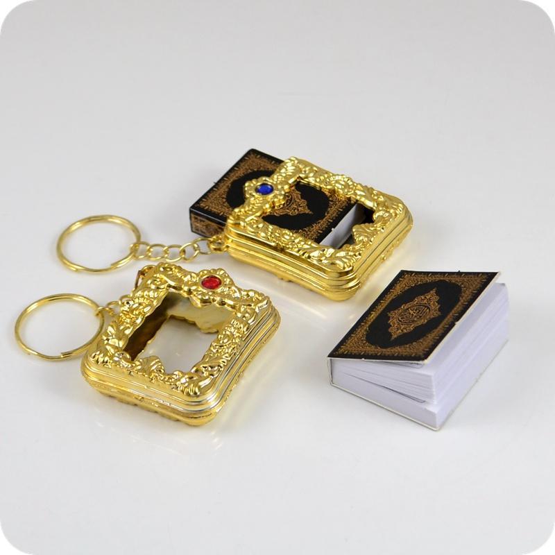 Gold and Silver color muslim Keychain Islamic Mini Ark Quran Book Koran Key Ring Key Charm Key Chain buy send