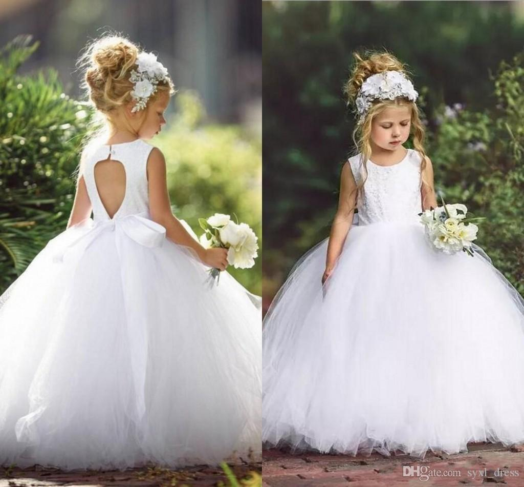 c5b308f1077bc 2019 White Ball Gown Flower Girl Dresses Jewel Neck Sleeveless Lace  Appliques Toddler Pageant Girl Dresses Kids Wears Formal