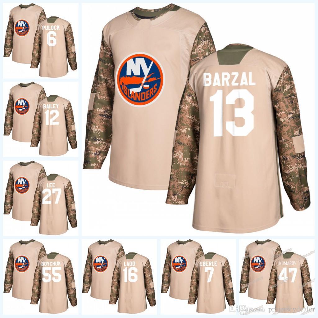 big sale e59b7 33f3b Womens 13 Mathew Barzal New York Islanders Camo Veterans Day Jersey 47 Leo  Komarov 27 Anders Lee 2 Nick Leddy 55 Johnny Boychuk