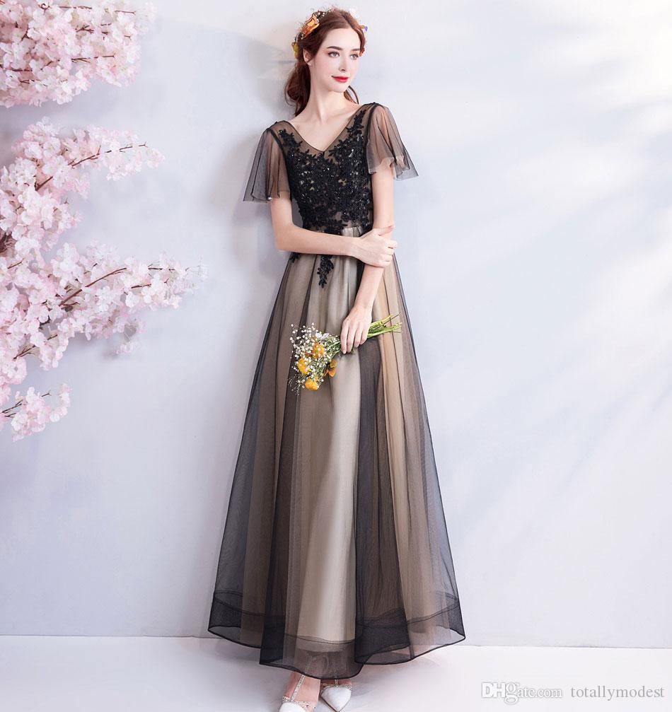 Discount 2019 New A Line Gothic Black Wedding Dresses With