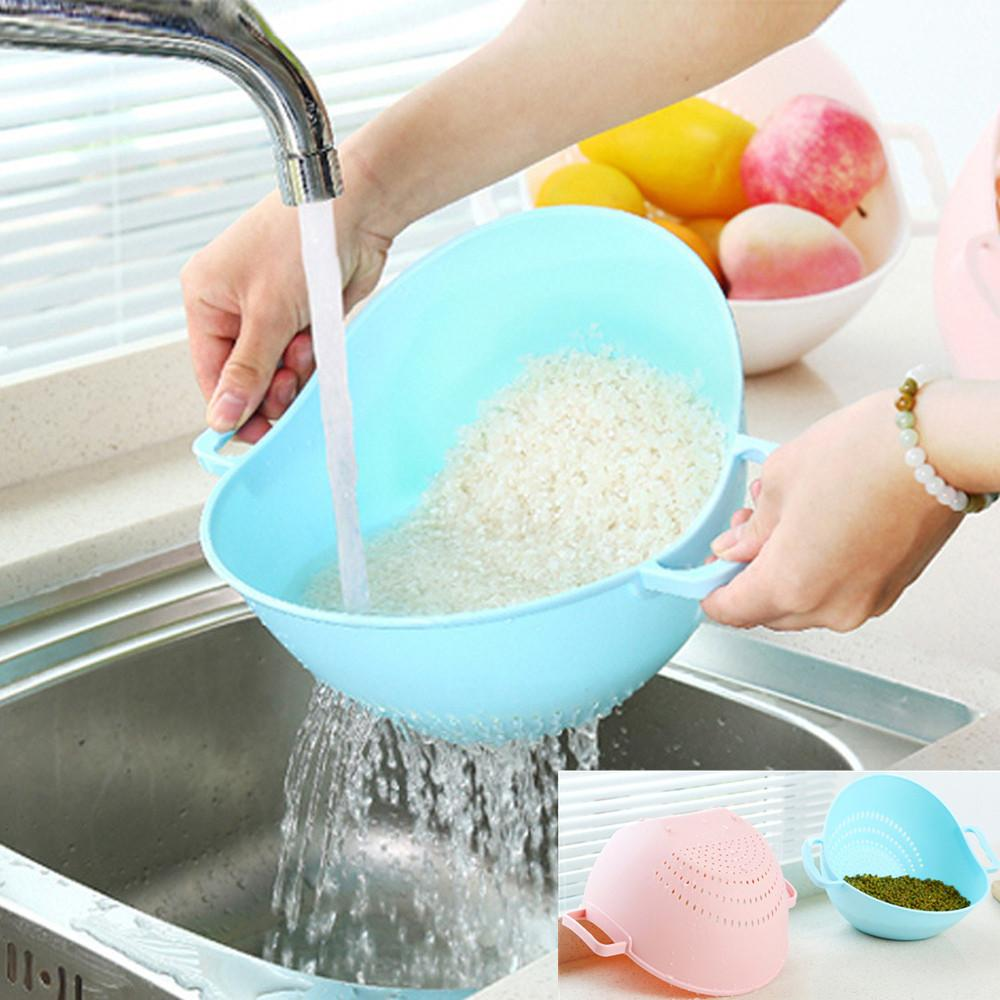 2017 High quality Plastic Wonderful Double Handle Rice Basket Kitchen Basket Rice Wash Sieve Strainer #1017