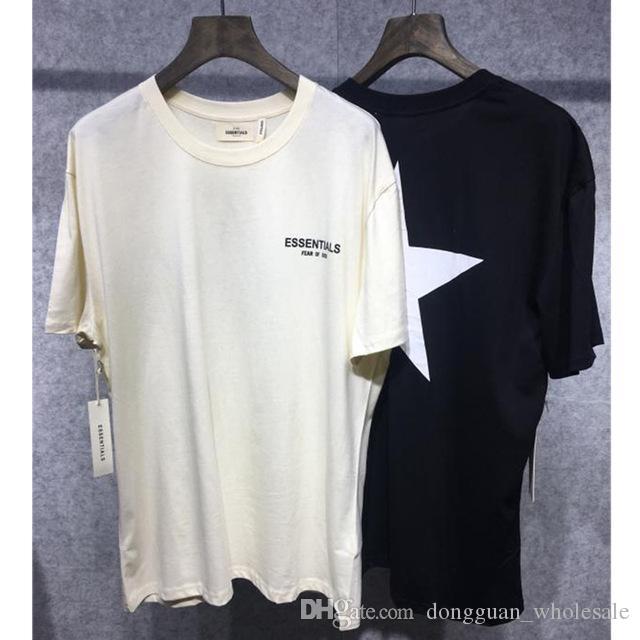 847c4e18ba65 2019 New Fear Of God T Shirts Women Men 1f:1 Apricot Black Essentials Fear  Of God Tshirt Pentagram Printing Fear Of God Top Tees A Shirt A Day T Shirt  From ...