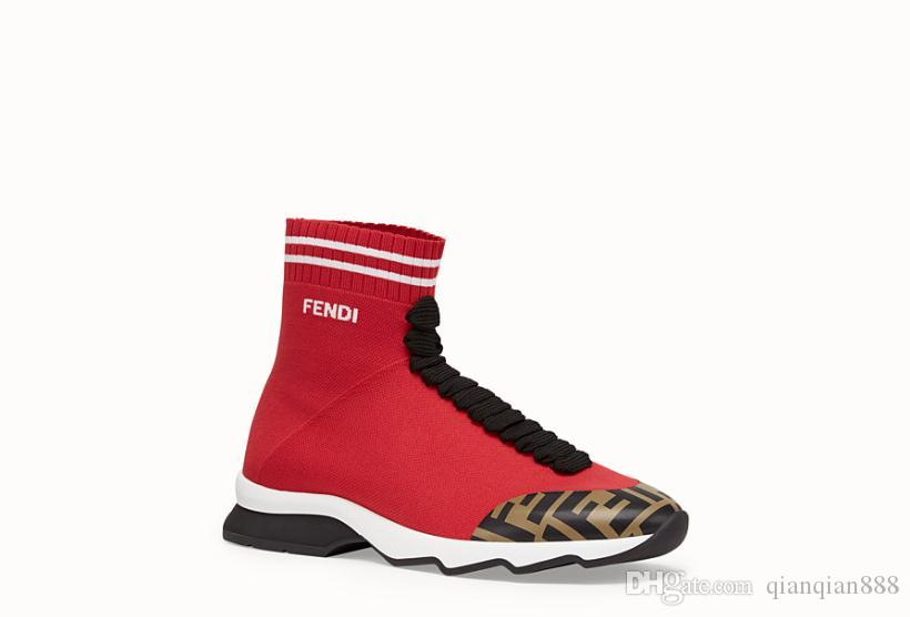 238170151c 2019 New Designers Mens Casual Sock Shoes Luxurious Brand FF High-top White  Black Red Blue Yellow Elastic cloth Sneakers Loafers 40-45