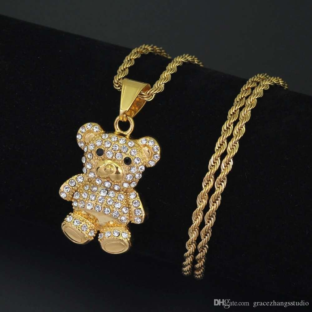 e9187ea7d7b42f Wholesale Hip Hop Cartoon Teddy Bear Diamonds Pendant Necklaces For Men  Women Western Luxury Necklace Stainless Steel Cuban Chains Jewelry Silver  Necklace ...