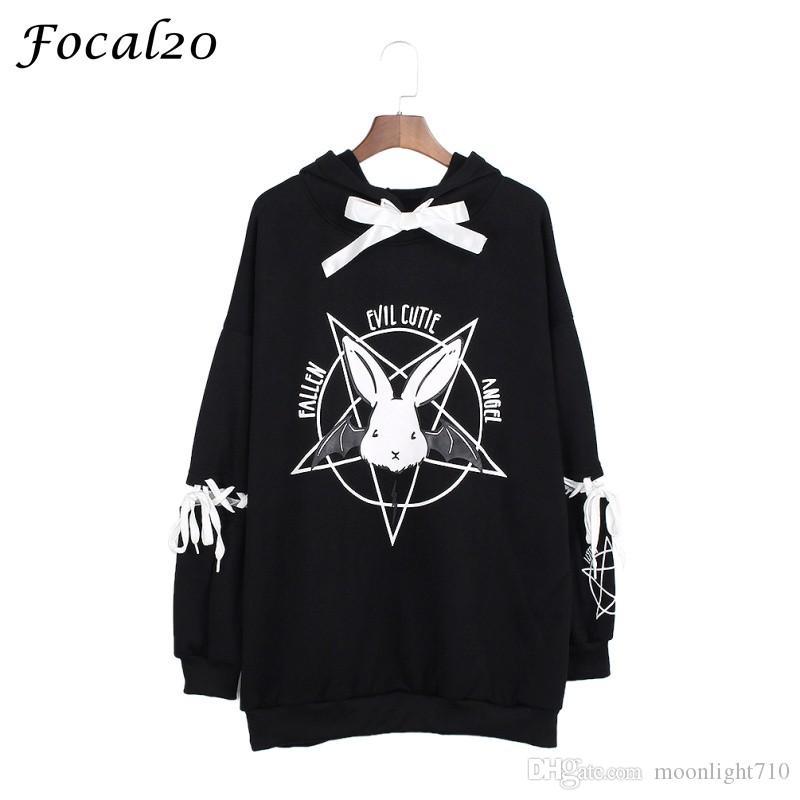Focal20 Harajuku Pentagram Print Lace Up Frauen Fleece Hoodies Gothic Punk Oversize Samt Kapuzenpullover Pullover Streetwear