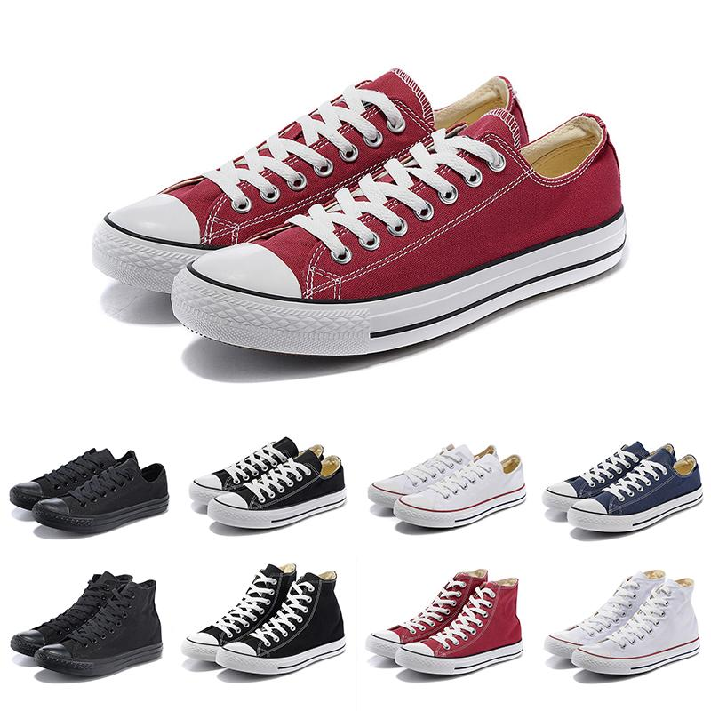 Red Low High quality Original Brand cut Lace canvas casual shoes All black white blue orange high low mens women Sneakers trainers 36-44