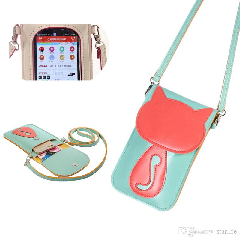 42a91a2c9993 Leather Small Crossbody Bag Lightweight Cell Phone Purse Smartphone Wallet  Travel Shoulder Strap Handbag for Women