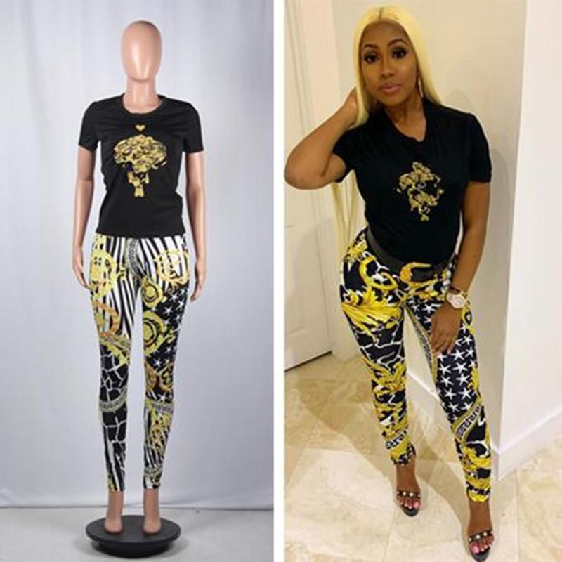 Ins Luxury Designer 2 Piece Woman Set Top and Pants Brand Ver Letter t shirt + Star Floral Leggings Fashion Outfits Trendy Tracksuit C72702
