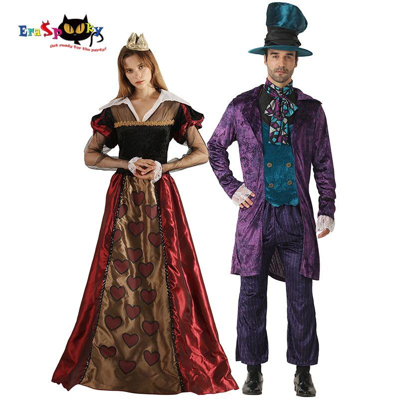 133fbd7ca85 ostumes Accessories Cosplay Costumes Eraspooky Alice In Wonderland Costume  Adult Halloween Couple Costume Queen of hearts Women Mad Hatte...