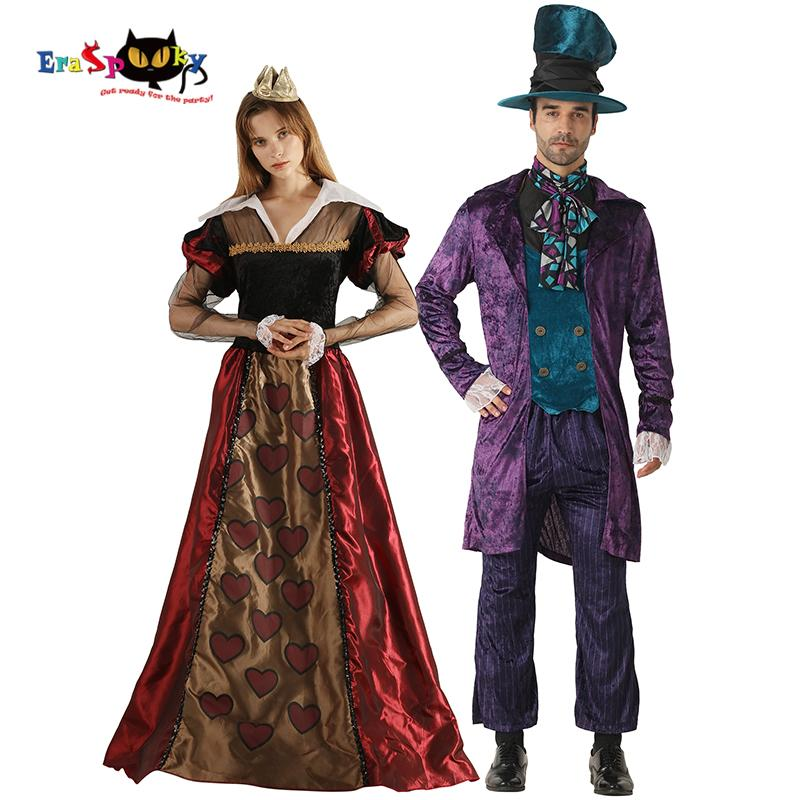 0455097926c02 Compre Ovie TV Disfraces Eraspooky Alice In Wonderland Disfraz Adulto  Pareja De Disfraces De Halloween Reina De Corazones Mujeres Sombrerero  Enojado ...