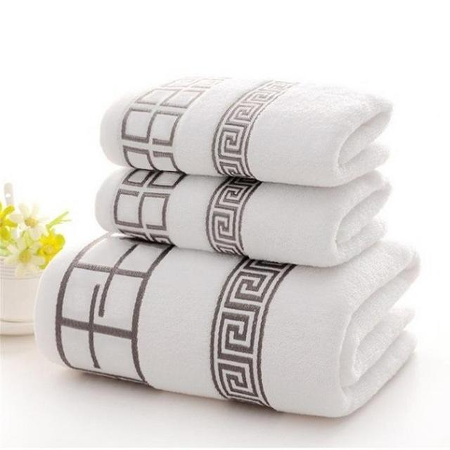 2018 New Luxury 3pcs/lot 100% Cotton Towel Set with 2 Face Washcloth+1 Bath Towels Bathroom Set for Family Guest Bathrooms Gym