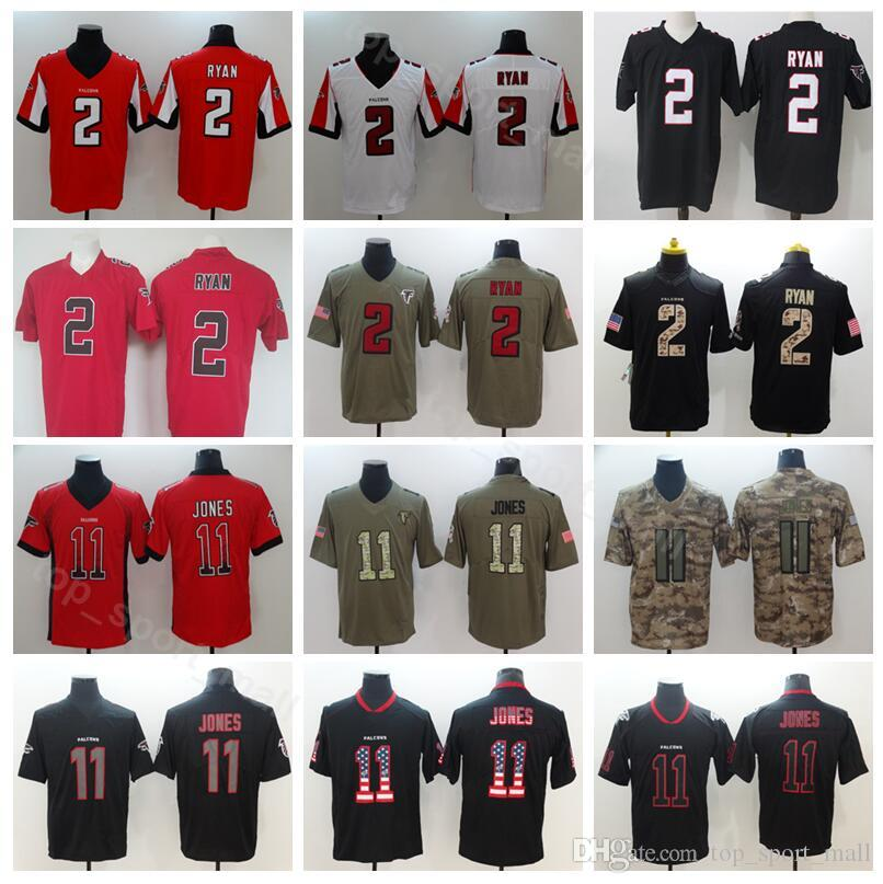 save off 02a80 3bbb8 Atlanta Falcons 11 Julio Jones Jersey Men Football 2 Matt Ryan Red Black  White 2 Matt Ryan Salute to Service USA Flag Hyphenation