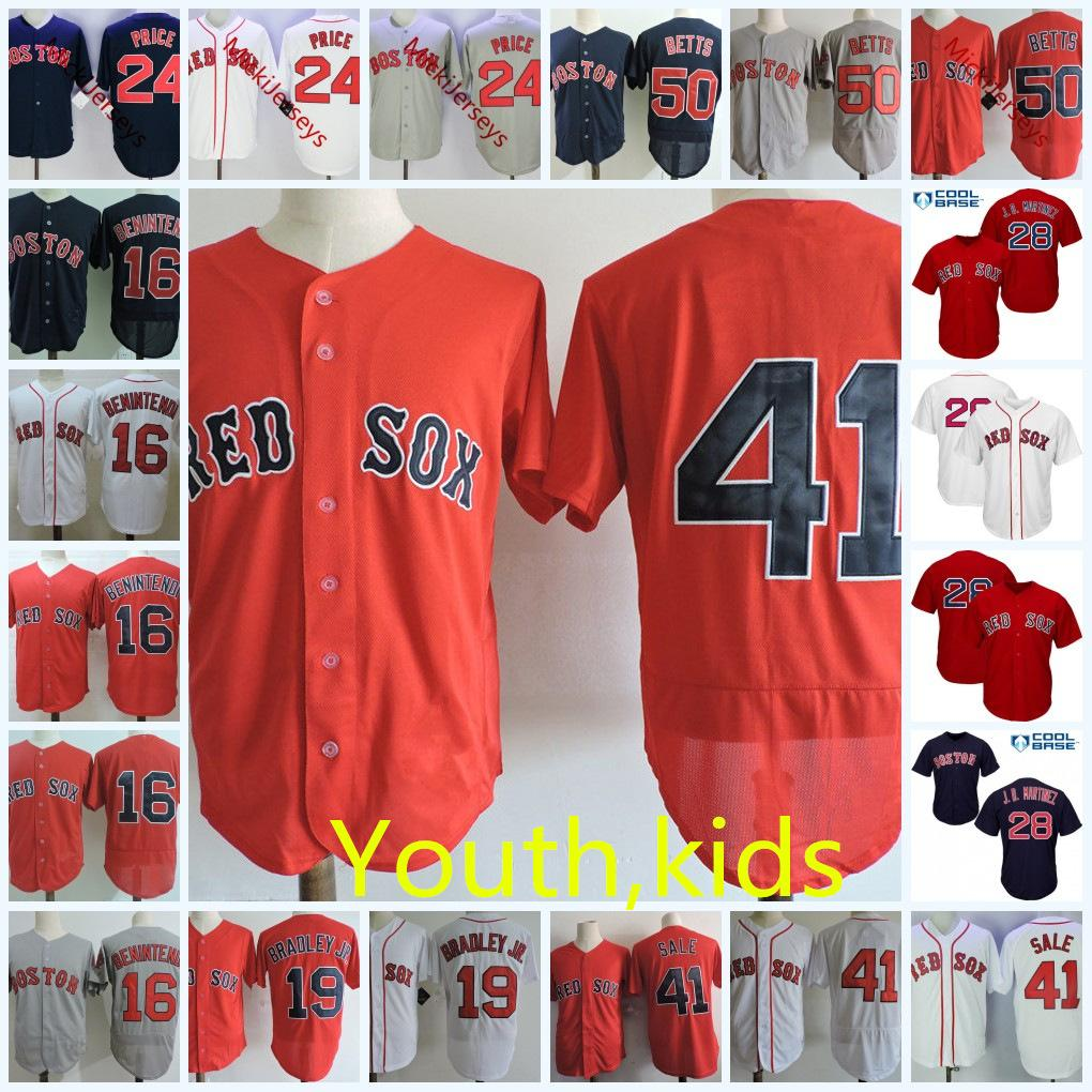 timeless design 21e1f e0433 Youth Dustin Pedroia Cool Base Jersey Kid Andrew Benintendi Jackie Bradley  David Price J.D. Martinez Chris Sale Mookie Betts baseball Jersey