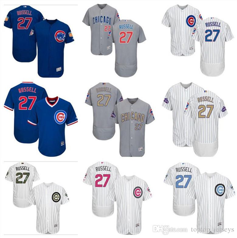 546913d12f0 2019 2019 Chicago Custom Men S Women Youth Majestic Cubs Jersey  27 Addison  Russell Home Blue White Gold Kids Girls Champions Baseball Jerseys From ...