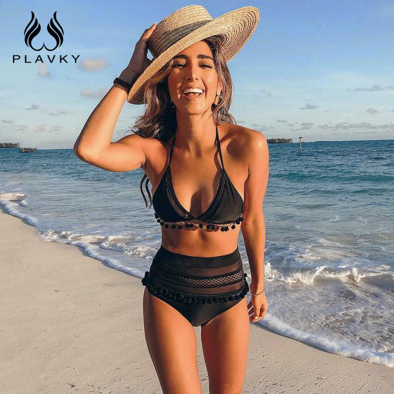4dbdcb194ac59 2019 2019 Sexy Halter Retro Mesh Hollow Out String Biquini Bathing Suit  Female Swimsuit High Waist Plus Size Swimwear Women Bikini From Hlq1027, ...