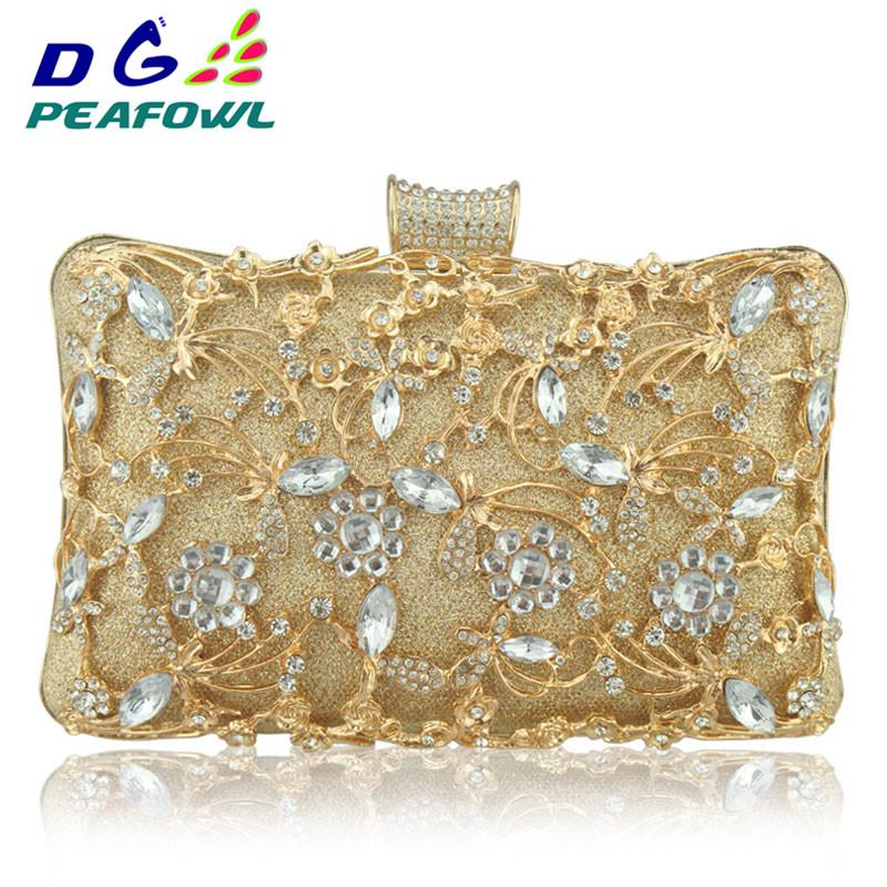Fashion Hollow Out Metallic Floral Women Imperial Horse Small Wallet Call Phone Package Lady Evening Clutch Bags