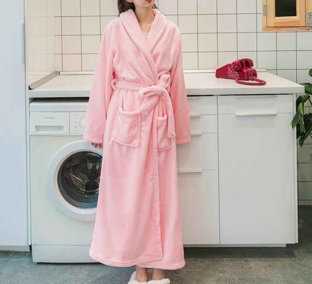 e148fc2c681e93 Inverno Robe Feminino Sleepwear Longo Robes Mulheres Roupão de Moda Moda  Rosa Robe Senhora Estilo Simples 2 Cor