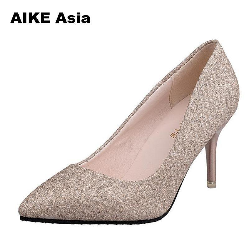 cad57cca6ea Shoes Hot Casual Summer Women Pumps Sexy Gold Silver High Heels Fashion  Pointed Toe Wedding Party Leisure Bling  m 111 Orthopedic Shoes Comfortable  Shoes ...