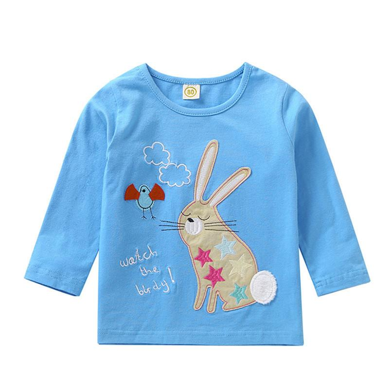22fc8d6023 2019 Baby Clothes Baby Girls Tops And Tees Children Kids Boys Girls Long  Sleeve Rabbit Embroidery Printed T Shirt Top Clothes S28 F From Victorys01