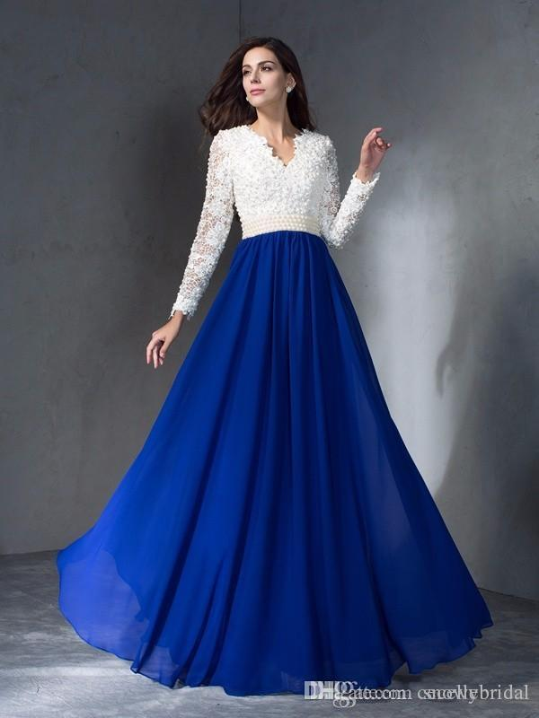 1f86ea52c8 2019 New Royal Blue Long Modest Bridesmaid Dresses With Long Sleeves Lace  Top Pearls Chiffon Skirt A Line Bridesmaid Robes Country Styles Gold  Bridesmaid ...