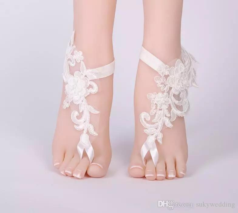 e0ebcd4b882 Lace Appliques Barefoot Beach Sandals For Weddings Starfish Anklets Chain  For Beach Wedding Party Toe Ring Bridal Bridesmaid Foot Jewelry Bridal Hair  ...