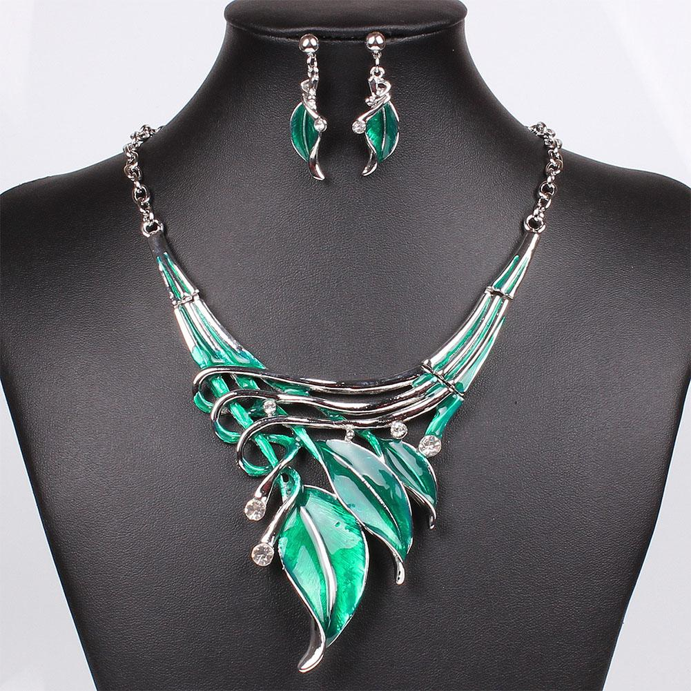 Casual Leaves Fabala Necklace Long Earrings Crystal Jewelry Sets Charm Pendant Gifts