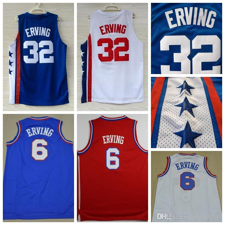 f4e12453f03 2019 Top Quality 6 Dr J Julius Erving Jersey Mens 32 Julius Erving Jersey  Stitched Blue White Red Drop Shipping From Global biz