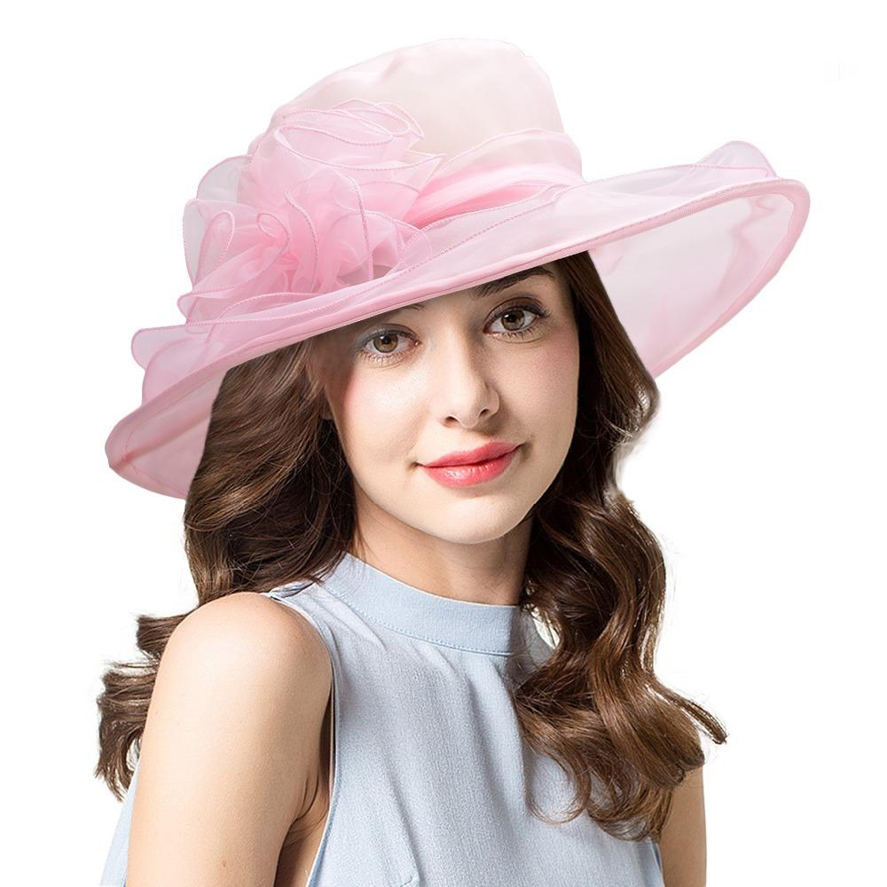12b6c860 Lawliet Organza Wide Brim Sun Hat For Women Solid Floral Summer Beach Hat  Lady Party Church Kentucky Derby Wedding Hats D19011103 Fedora Hat Bowler  Hat From ...