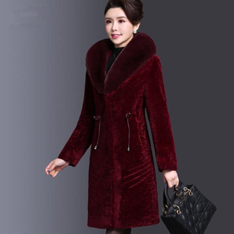 4c018826 Middle Aged Women Coats Winter Long Parka Jackts Plus Winter Coats For  Women Fur Collar Warm Jackets Wool 2019 New AS155