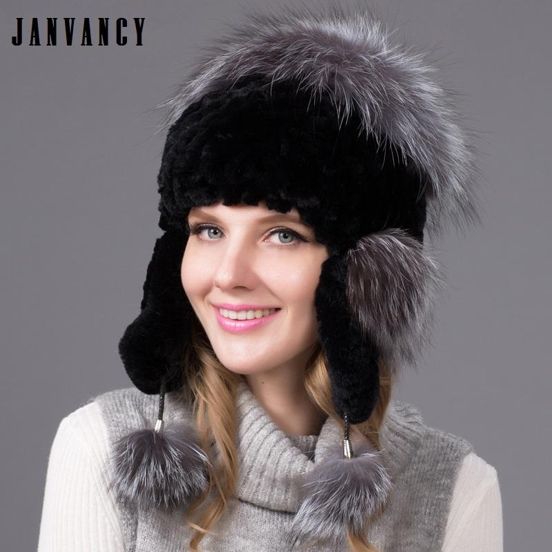 186ee091ba1de9 New Winter Knitted Real Rex Rabbit Fur Bomber Hat for Women Vogue ...