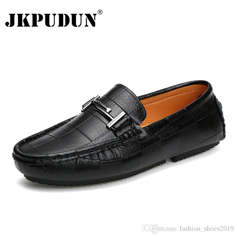1527873ae7 JKPUDUN Men Shoes Brand Casual Slip On Formal Luxury Loafers Men Moccasins  Genuine Leather Italian Black Blue Male Driving Shoes #115669 Sport Shoes  ...