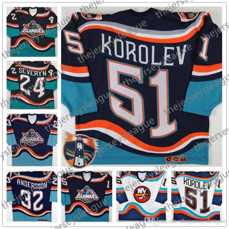 online store 6d0ee 4f3b7 New York Islanders Fisherman #51 Evgeny Korolev 32 Niklas Andersson 24  Brent Severyn Stitched Retro Blue White Hockey Jerseys S-4XL