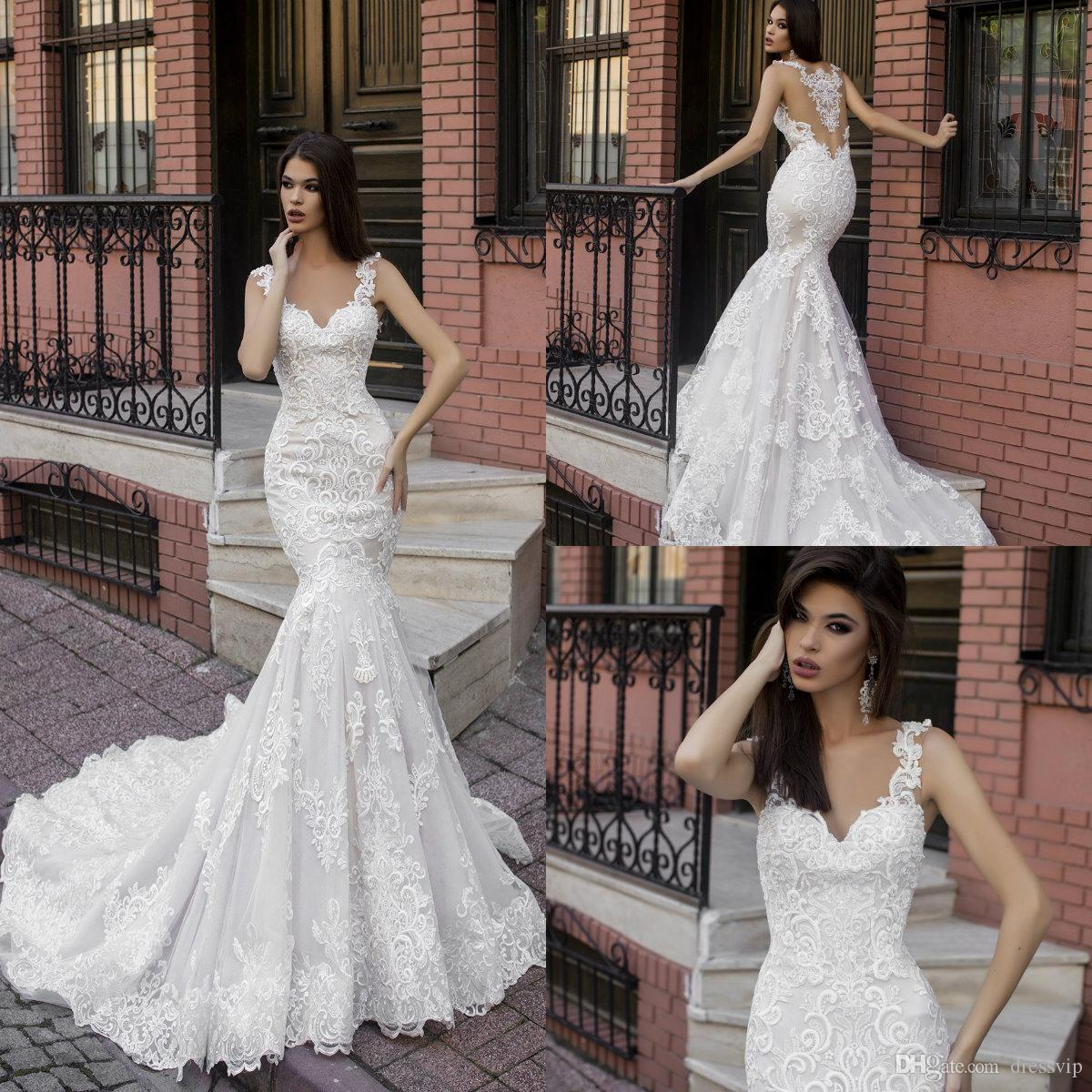 f9cb08804f 2019 Gorgeous Mermaid Wedding Dresses Lace Applique Sexy Back Sweep Train  Country Wedding Dress Custom Made Illusion Plus Size Bridal Gowns Modest  Wedding ...