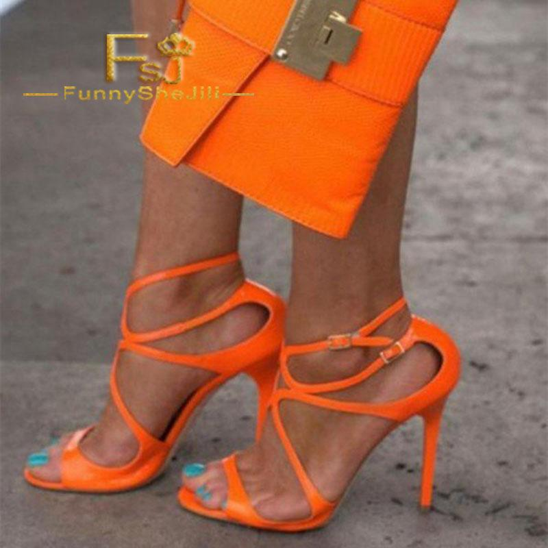 Women S Orange Stilettos Heels Strappy Ankle Strap Sandals Summer Carnival  Incomparable Generous Attractive Women Shoes FSJ Sexy Shoes For Sale Womens  ... 45f4a8b84fdf