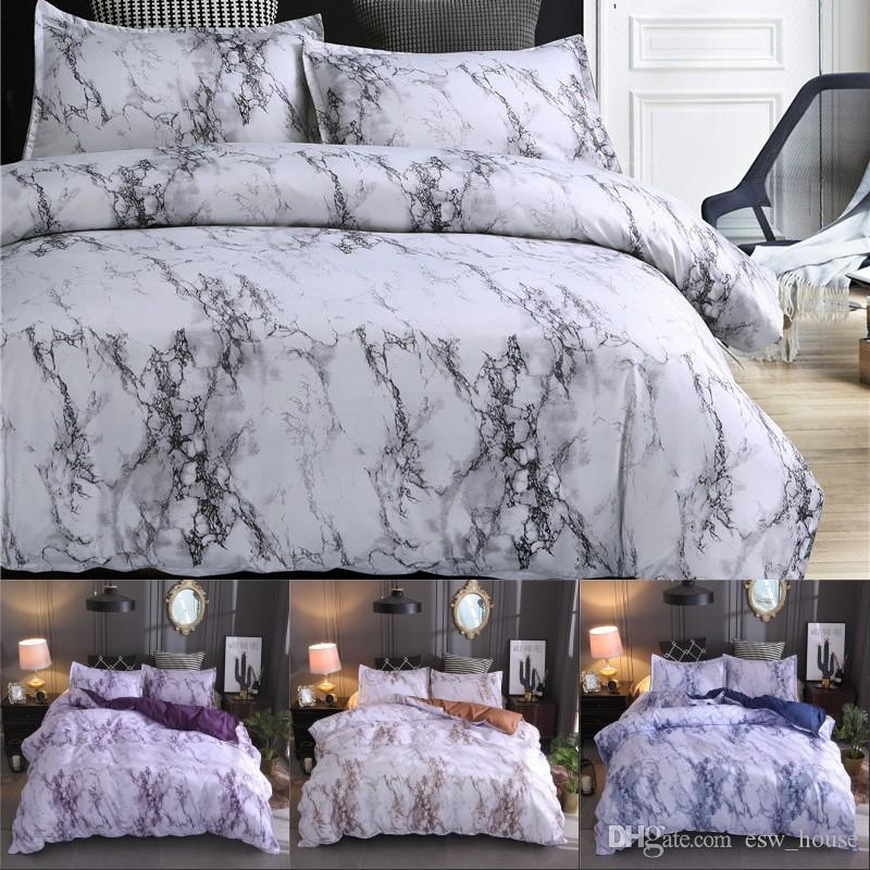 Marble Pattern Bedding Sets Polyester Bedding Cover Set 2/3pcs Twin Double Queen Quilt Cover Bed linen (No Sheet No Filling)