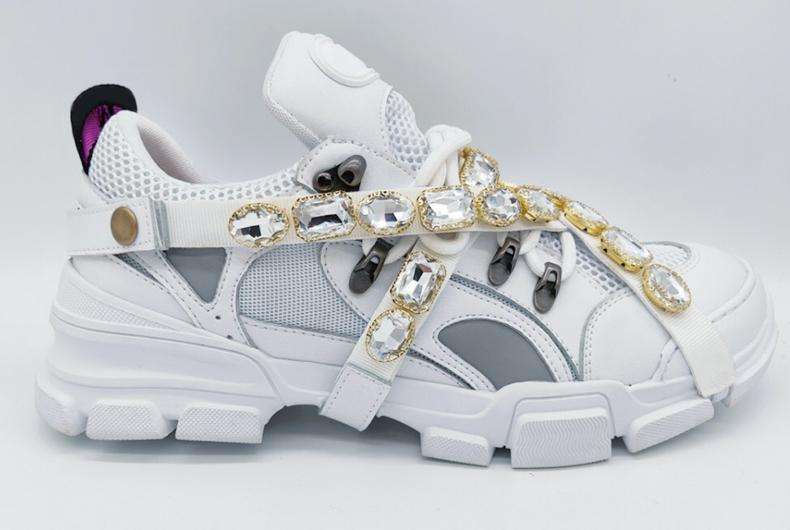 Couple sneakers unique style comfortable shoes with fashion belt crystal decoration men women running outdoor sports size 35-45