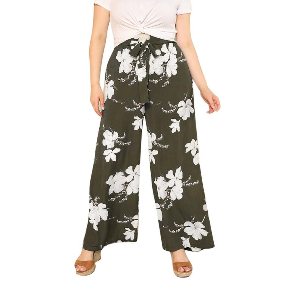 a6137da566 2019 Womens Plus Size Casual Wide Leg Pants Floral Printed Bow Bandage Maxi  Trousers Print Maternity Pants Plus Size#G6 From Sugarher, $42.35    DHgate.Com
